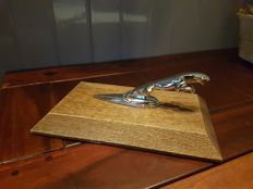 Jaguar chrome desk ornament - 12 cm total length 25 cm - ca 1980