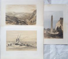 3 prints by David Roberts (1796 – 25 1864) - Various views on Ancient Monuments and Landscapes - 19th century