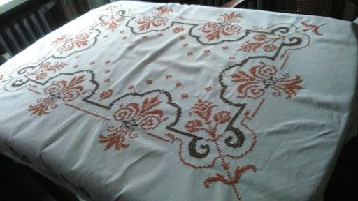 Vintage Hand Embroidered Tablecloth