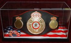"""""""Iron"""" Mike Tyson original Autographed Full Size WBA Boxing Belt in Display Case + Certificate of Authenticity from PSA"""