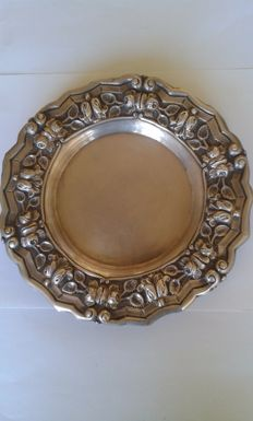 A silver circular tray, the border embossed with roses - Portugal - mid 20th century