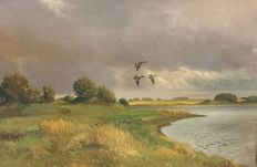 2x Leo Charles Møller LCM  ( 1899 -) - Flying ducks and LCM geese