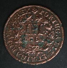 Portugal Monarchy – D. José I – III Réis 1764 – Copper