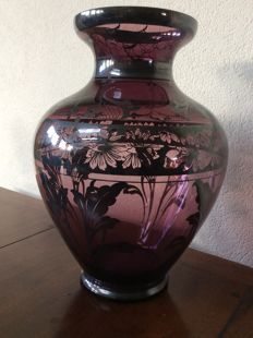 Purple pink glass vase with overlay silver flower decoration