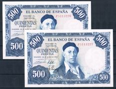 Spain - Correlative pair - 500 pesetas 1954 - Pick 148a