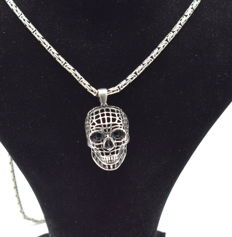 925 Italian sterling silver chain with Skull pendant - 62 cm