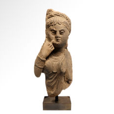 Gandhara Schist Stone Figure of the Goddess Hariti, 18.5 cm H
