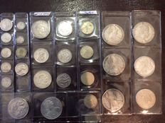 World - 27 Silver Coins from 18th to 21st century - Netherlands, Austria, Sweden, Spain, France, Greece, Switzerland, USA, Ethiopia - silver