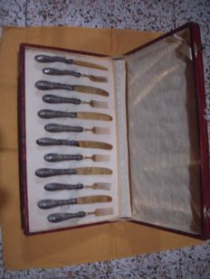 Silverware cutlery set for six, with box Italy, mid 1900s