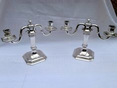Set of silver candle stands, probably Belgium, ca. 1930