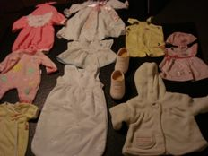 Lot of 20 pieces Baby Born and ZAFF dolls clothes - all marked Baby Born and Zaff - 1 pair red and white shoes - played-with, but good condition