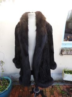 Black Astrakhan coat with fox trim - very beautiful condition