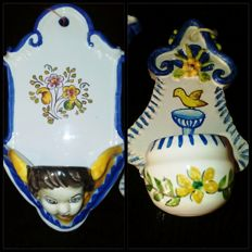 Home stoups - Holy water soup - Enamelled ceramic and hand-painted . 1950s. Manises, Spain.