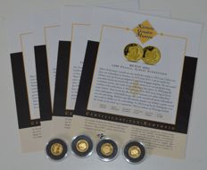"World - 4 coins ""the smallest gold coin collection"" 2004/2005 - gold"