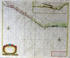 Africa, western coast of Africa; John Thornton - A chart of the Grain Ivory and Quaqua coasts in Guinea from Cape St. Anne to Teen Pequene - ca. 1750