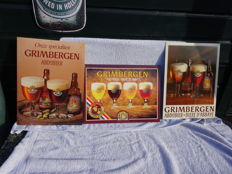 3 advertising signs of cardboard / plastic - Grimbergen Bier - ca. 1980