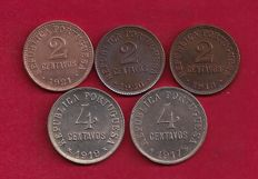 Portugal Republic - 5 Copies - 2 centavos 1918/1920/1921 & 4 centavos 1917/1919