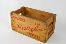 Grolsch vintage wooden beer crate from the 1960s