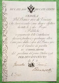 Italy - Banco Giro of Venice - Coupon of 100 ducats 01/10/1798 - Gavello 12