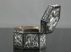 Chinese Sterling Silver Box, 19th, Punch
