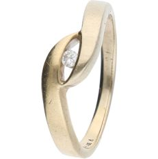 14 kt bicolour white/yellow gold crossover ring set with a brilliant cut diamond of approx. 0.04 ct - ring size: 16.75 mm