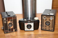 Three Kodak box cameras from the 1930s to the 1950s: the no2 Beau Brownie, the six-20 Brownie Junior and the Brownie 127