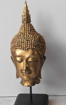 Large bronze Buddha head - Thailand - 2nd half 20th century (48 cm)