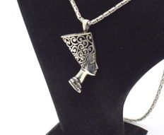 925 Italian sterling silver chain with  Pharaoh pendant - 62 cm