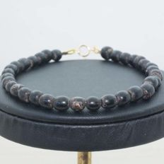 Bracelet of Black Coral Antipatharia with 18 kt Gold clasp - 20 cm