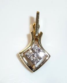 Diamond pendant with clip clasp in 14 kt / 585 gold - 4 x brilliant cut ** no reserve price **