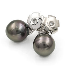 White gold, 18 kt (750/1000) - Earrings - Diamonds, 0.20 ct - Tahitian pearl - Earring height: 24.00 mm