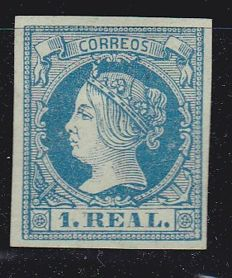 Spain 1860 - Isabel II, 1 real in blue - Edifil No. 55