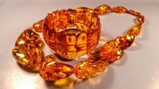 Aged Cognac colour 100% Genuine Baltic Amber necklace and bracelet,  weight 101 gram