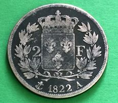 France - 2 Francs 1822 A (Paris) - Louis XVIII - argent