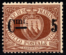San Marino 1892 - Coat of Arms 5 on 30 brown - Sassone no. 10