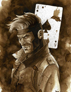 Gambit - Original Coffee Drawing By Juapi