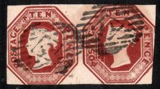 Great Britain Queen Victoria 1848 - 10d brown Embossed pair SG57.
