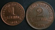 Portugal Republic - 1 and 2 Centavos 1921 - Bronze