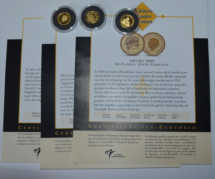 "World - 3 coins ""the smallest gold coin collection"" 2009/2010 - gold"