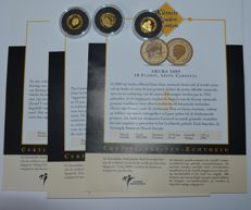 """World - 3 coins """"the smallest gold coin collection"""" 2009/2010 - gold"""