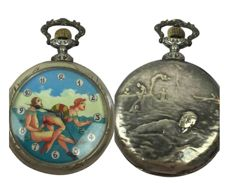 "Clock; Doxa pocket watch with pornographic ""swimming lesson scene"" on dial - 1930s"