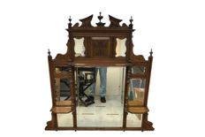 Victorian wooden large mirror in red walnut wood with twisted rods. - part of chiffonier -- Scotland - C. 1890