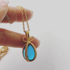 Joan Rivers inspired  Fabergé egg pendant necklace