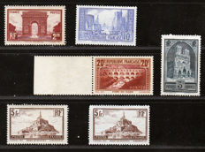 France 1929/1931 – Selection of 6 stamps - Yvert  n°258, 259, 260, 260a, 261b and 262IIb