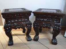 Two lavishly carved wooden stands (teak) - Thailand - second half 20th century