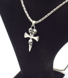 925 Italian sterling silver chain with  Cross pendant - 62 cm