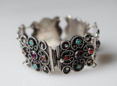 Broad solid bracelet with amethysts, corall and turquoise - MEXICO, silver, blackened