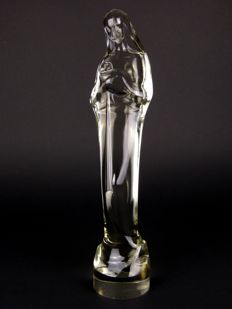 Stef Uiterwaal - Dutch Glasfabriek Leerdam - Art Deco glass sculpture Madonna with child