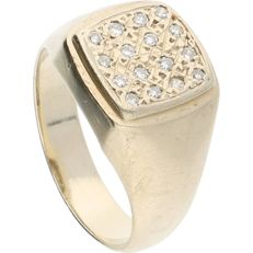 14 kt white-gold ring, set with 16 octagon-cut diamonds of approx. 0.16 ct in total Ring size: 17.25 mm