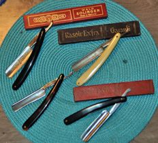 Collection of 4 folding razors including 2 Solingen